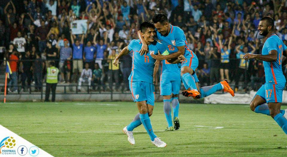 oman Chhetri celebrates his goal with Udanta Sigh at the final of Hero Intercontinental Cup in front of a pack Mumbai Football Arena