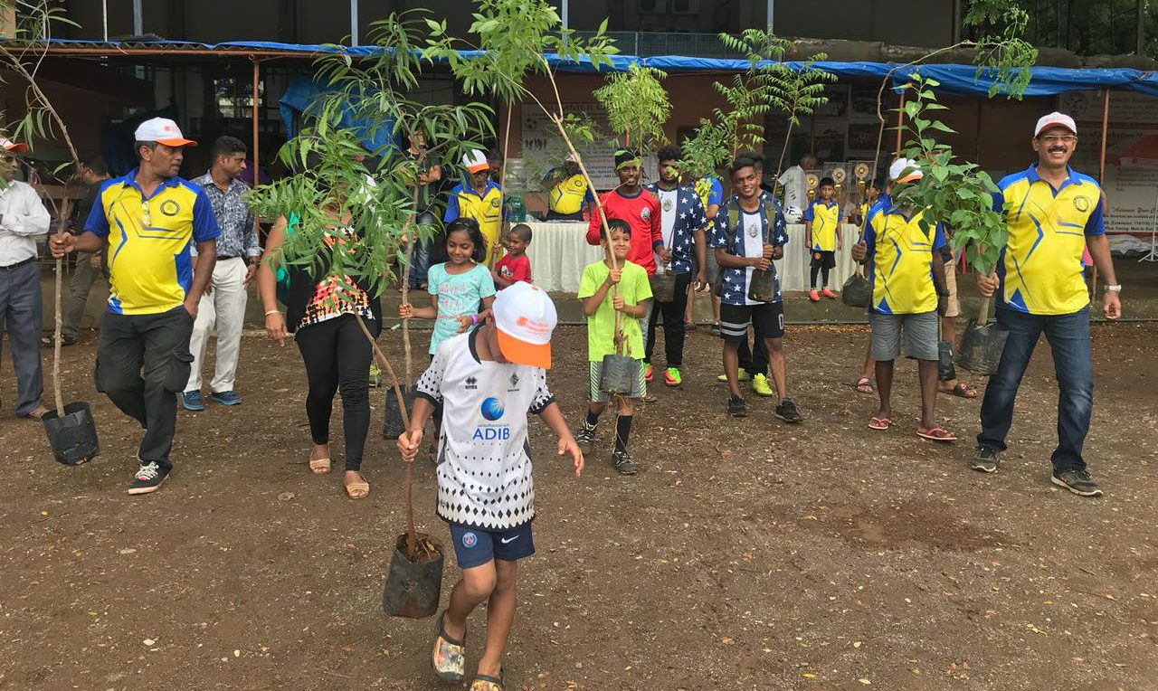 BPFL - Young kids enthusiastically carry saplings for tree plantations - A Borivali sports foundation initiative towards mother nature