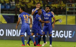 Pranjal Bhumij celebrates with his teammates during match 7 of the Hero Indian Super League 2018 ( ISL ) between Kerala Blasters and Mumbai City FC held at the Jawaharlal Nehru Stadium, Kochi, India on the 5th October Photo by: Faheem Hussain /SPORTZPICS for ISL