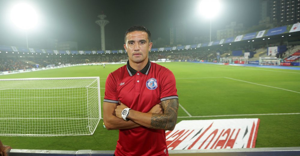 Tim Cahill player of Jamshedpur FC during match 4 of the Hero Indian Super League 2018 ( ISL ) between Mumbai City FC and Jamshedpur FC held at The Mumbai Football Arena in Mumbai, India on the 2nd October 2018 Photo by: Sandeep Shetty /SPORTZPICS for ISL