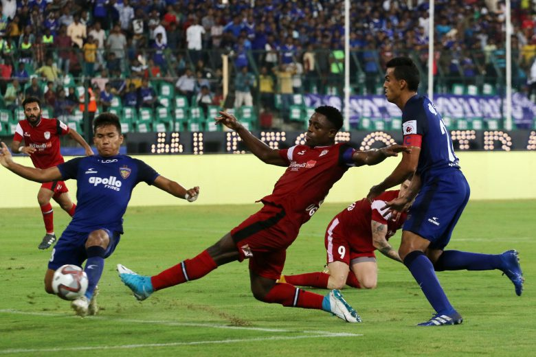 seven Bartholomew Ogbeche of Northeast United FC scores a goal during match 11 of the Hero Indian Super League 2018 ( ISL ) between Chennaiyin FC and Northeast United FC held at the Jawaharlal Nehru Stadium, Chennai, India on the 18th October Photo by: Vipin Pawar /SPORTZPICS for ISL