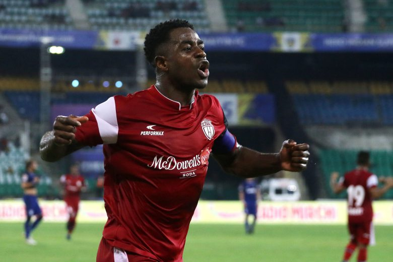 Bartholomew Ogbeche of Northeast United FC celebrates a goal during match 11 of the Hero Indian Super League 2018 ( ISL ) between Chennaiyin FC and Northeast United FC held at the Jawaharlal Nehru Stadium, Chennai, India on the 18th October Photo by: Vipin Pawar /SPORTZPICS for ISL