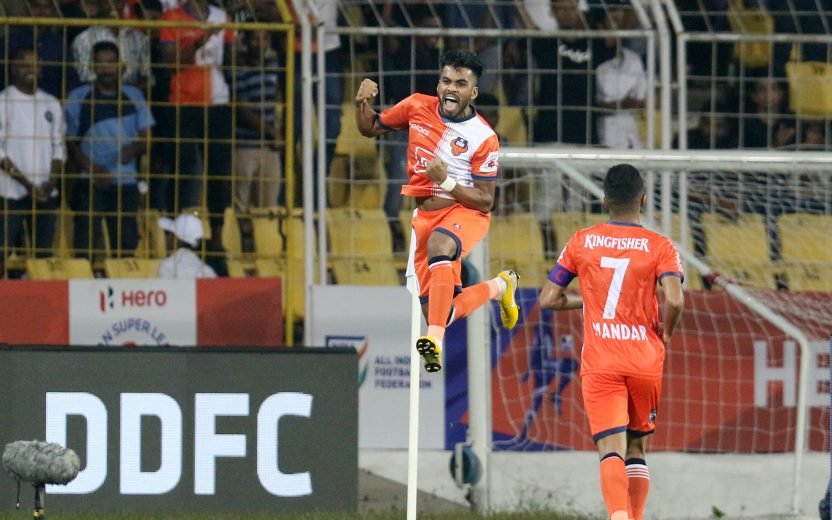 during match 31 of the Hero Indian Super League 2018 ( ISL ) between FC Goa and Delhi Dynamos FC held at Jawaharlal Nehru Stadium, Goa, India on the 8th November 2018 Photo by: Faheem Hussain /SPORTZPICS for ISL