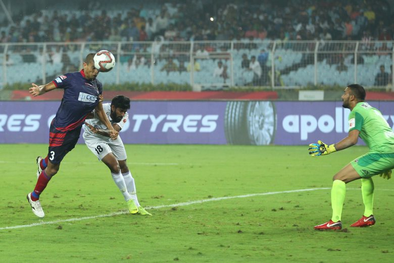 Gerson Vieira of ATK hits goal during match 33 of the Hero Indian Super League 2018 ( ISL ) between ATK and FC Pune City held at the Yuba Bharati Krirangan stadium (Salt Lake Stadium) in Salt Lake Kolkata, India on the 10th November Photo by: Deepak Malik /SPORTZPICS for ISL
