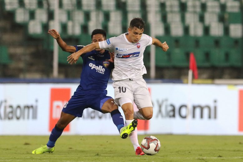 Marcelo Pereira of FC Pune City and Tondonba Singh of Chennaiyin FC in action during match 67 of the Hero Indian Super League 2018 ( ISL ) between Chennaiyin FC and FC Pune City held at the Jawaharlal Nehru Stadium, Chennai, India on the 2nd February 2019 Photo by: Vipin Pawar /SPORTZPICS for ISL