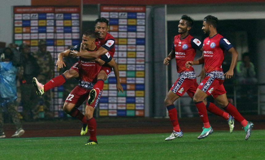 Emerson Gomes de Moura of Jamshedpur FC celebrates after scoring a goal during match 72 of the Hero Indian Super League 2018 ( ISL ) between Jamshedpur FC and Mumbai City FC held at JRD Tata Sports Complex, Jamshedpur, India on the 8th February 2019 Photo by: Faheem Hussain /SPORTZPICS for ISL