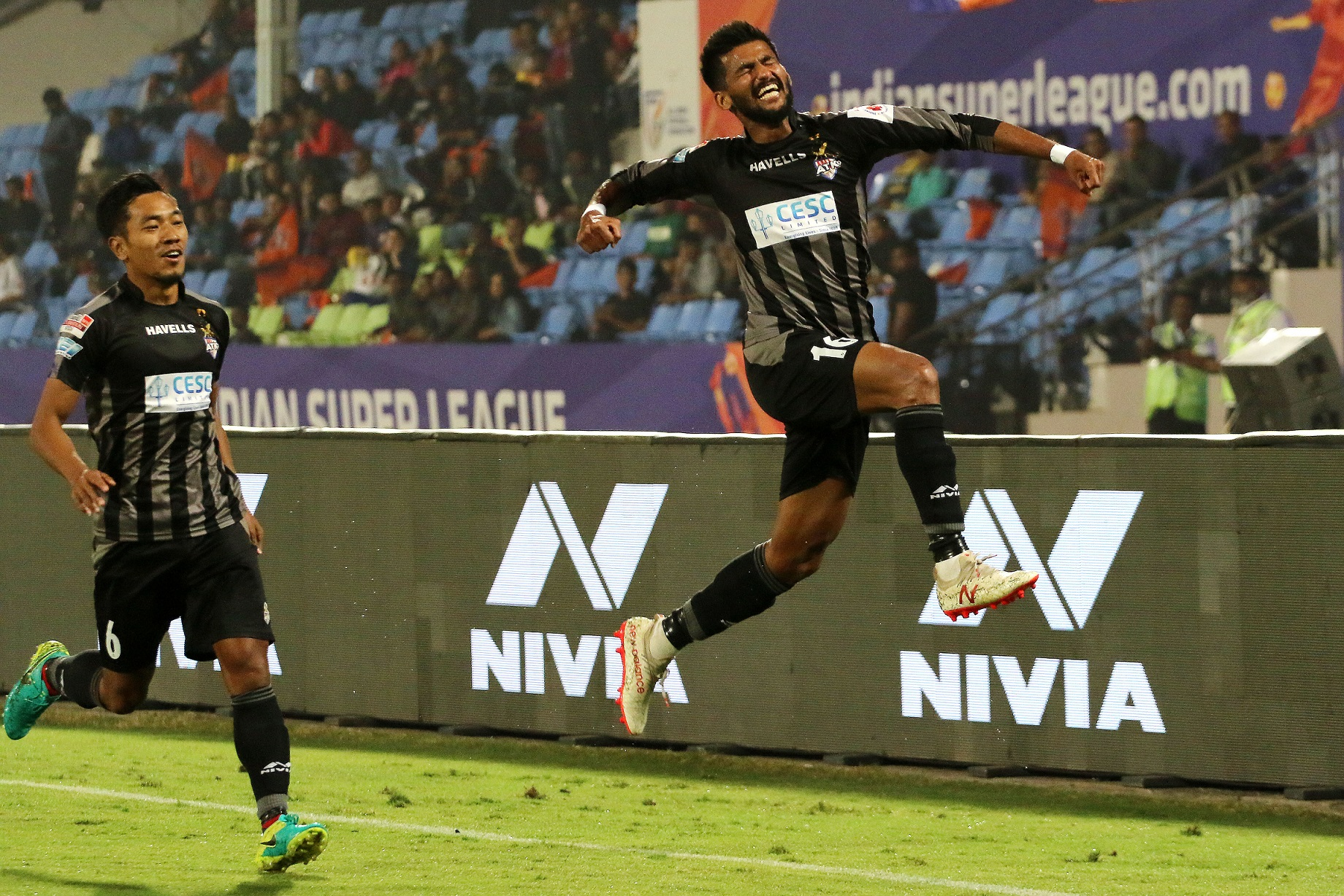 Jayesh Rane of ATK celebrates a goal during match 74 of the Hero Indian Super League 2018 ( ISL ) between FC Pune City and ATK held at Shree Shiv Chhatrapati Sports Complex Stadium, Pune, India on the 10th February 2019 Photo by: Vipin Pawar /SPORTZPICS for ISL