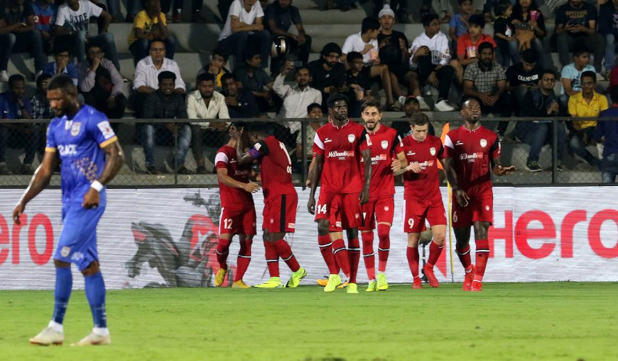 Northeast United FC players celebrates a goal during match 75 of the Hero Indian Super League 2018 ( ISL ) between Mumbai City FC and Northeast United FC held at The Mumbai Football Arena in Mumbai, India on the 13th February 2019 Photo by: Vipin Pawar /SPORTZPICS for ISL