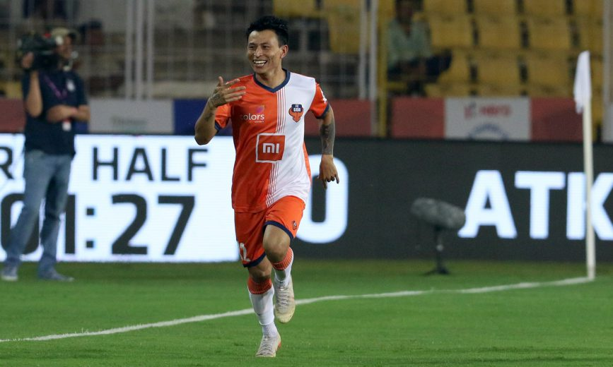 during match 76 of the Hero Indian Super League 2018 ( ISL ) between FC Goa and ATK held at Jawaharlal Nehru Stadium, Goa, India on the 14th February 2019 Photo by: Faheem Hussain /SPORTZPICS for ISL