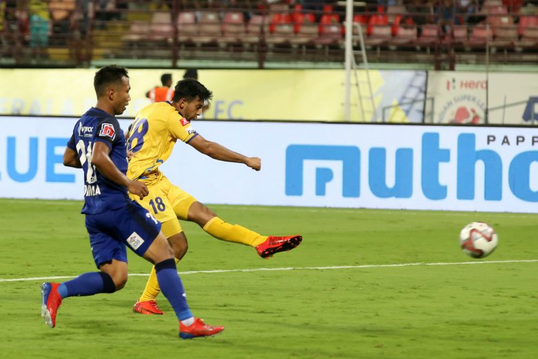 Sahal Abdul Samad of Kerala Blasters FC takes a shot to score a goal during match 77 of the Hero Indian Super League 2018 ( ISL ) between Kerala Blasters FC and Chennaiyin FC held at Jawaharlal Nehru Stadium, Kochi, India on the 15th February 2019 Photo by: Faheem Hussain /SPORTZPICS for ISL