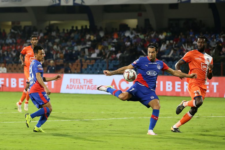 Nicolas Ladislao Fedor Flores of Bengaluru FC in action during match 82 of the Hero Indian Super League 2018 ( ISL ) between Bengaluru FC and FC Goa held at the Sree Kanteerava Stadium, Bengaluru, India on the 21st February 2019 Photo by: Faheem Hussain /SPORTZPICS for ISL