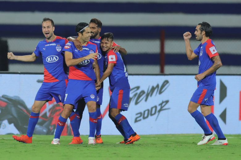 Nicolas Ladislao Fedor Flores of Bengaluru FC celebrates the goal with team players during the 2nd leg of the 1st semi final of the Hero Indian Super League 2018 ( ISL ) between Bengaluru FC and Northeast United FC held at the Sree Kanteerava Stadium, Bengaluru, India on the 11th March 2019 Photo by: Deepak Malik /SPORTZPICS for ISL final