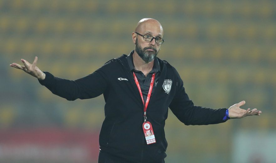 Northeast United FC Head Coach, Eelco Schattorie reacts during match 81 of the Hero Indian Super League 2018 ( ISL ) between NorthEast United FC and FC Pune City held at the Indira Gandhi Athletic Stadium, Guwahati, India on the 20th February 2019 Photo by: Deepak Malik /SPORTZPICS for ISL