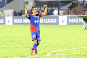 Sunil Chhetri of Bengaluru FC reacts after winning the 2nd leg of the 1st semi final of the Hero Indian Super League 2018 ( ISL ) between Bengaluru FC and Northeast United FC held at the Sree Kanteerava Stadium, Bengaluru, India on the 11th March 2019 Photo by: Faheem Hussain /SPORTZPICS for ISL