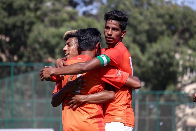 CFCI players celebrate a goal against GM