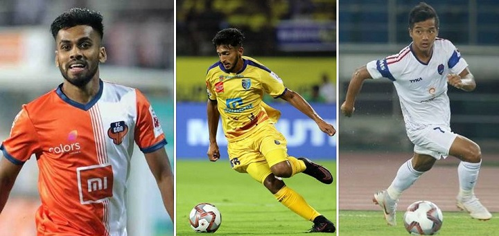 Brandon Fernandes of FC Goa(right), Sahal Abdul Samad of Kerala Blasters (center) and L Chhangte of DDFC (left) have been very impressive this season