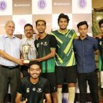 The victorious Kalina Rangers players receive the Late Darryl Crasto Memorial Trophy from Chief Guests M.M. Somaya and Joaquim Carvalho at the prize distribution function. Rangers defeated Macabi Amboli 8-7 via the sudden death tie-breaker in the Men's Open final of the Catholic Gymkhana Rink Football Tournament 2019.