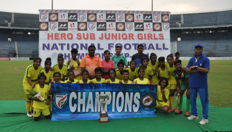 Jharkhand put four past Arunachal Pradesh in the final of the Hero Sub Junior Girls' National Football Championship at the Barabati Stadium in Cuttack