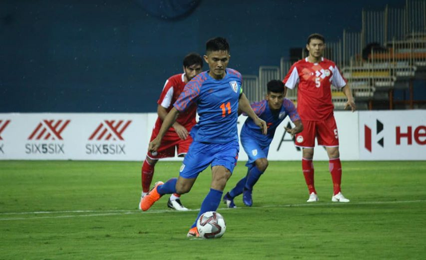 Chhetri's brace in vain as India lose lead and match against Tajikistan