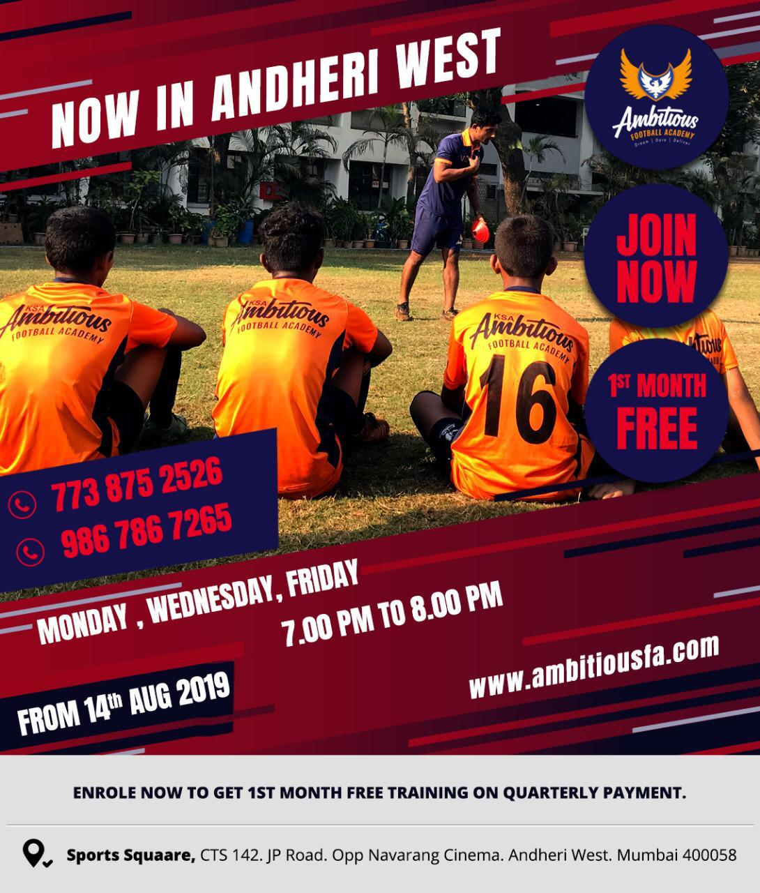 Ambitious Football Academy will be inaugurating their new centre tomorrow (August 14) at Andheri West, Mumbai