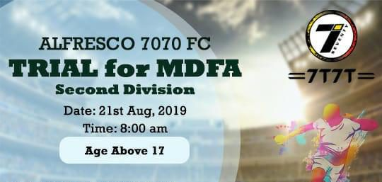 Mumbai based side Alfresco 7070 FC will be conducting open trials for their upcoming 2019-20 season of 2nd Division campaign