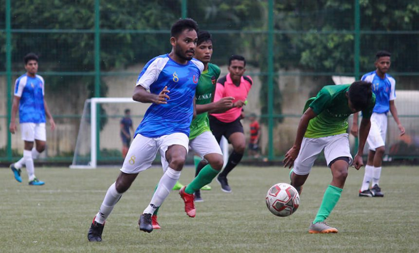 Mumbai-August 31: Pradeep Mannewar, Valentine Pereira show their class as they starred with hat-tricks in UBI's demolishing 8-0 win over a young Kenkre FC
