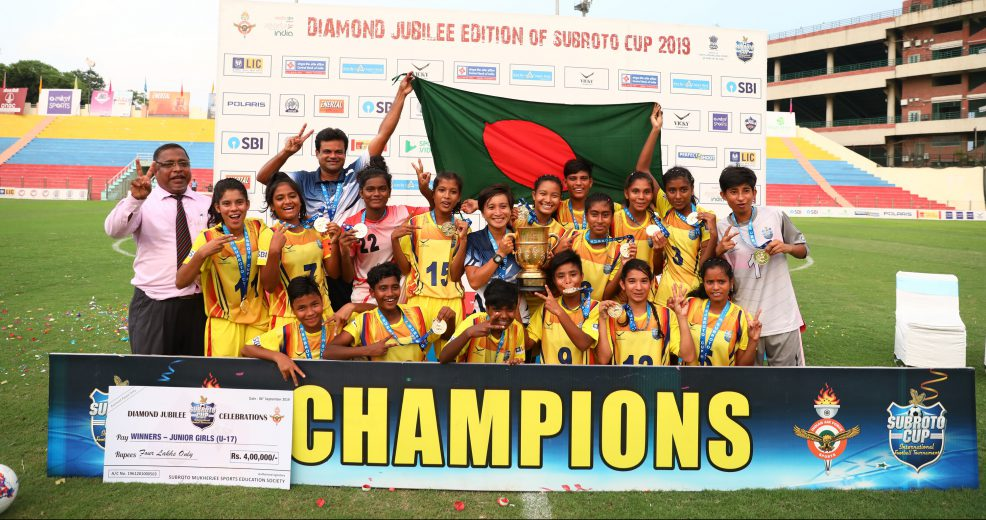 In the final of Subroto Cup U17 Girls category, Bangladesh Krida Shiksha Prothishtan successfully defended their title by defeating Nilmani English School,