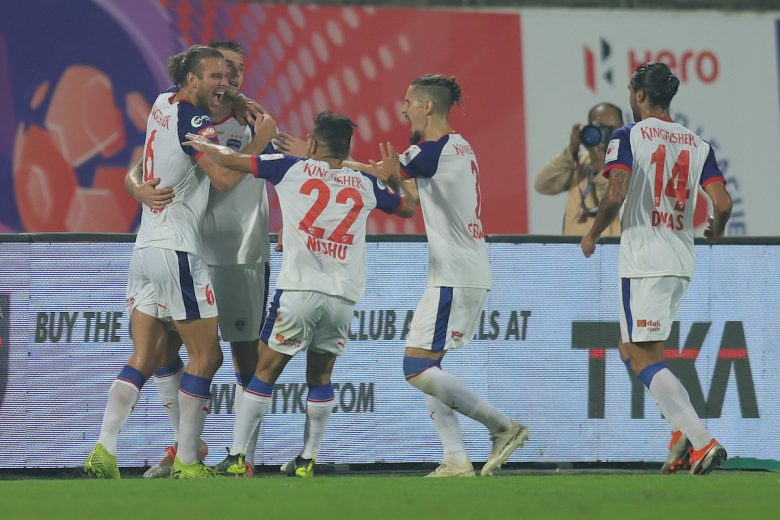 Juanan Fernandez of Bengaluru FC celebrates the goal with team players during match 31 of the Indian Super League ( ISL ) between Odisha FC and Bengaluru FC held at the Shree Shiv Chhatrapati Sports Complex Stadium, Pune, India on the 4th December 2019. Photo by: Deepak Malik / SPORTZPICS for ISL