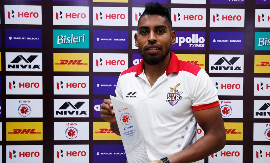 Fijian Roy Krishna of ATK with players of the month trophy during match 33 of the Indian Super League ( ISL ) between NorthEast United FC and ATK FC held at the Indira Gandhi Athletic Stadium, Guwahati, India on the 7th December 2019. Photo by: Saikat Das / SPORTZPICS for ISL