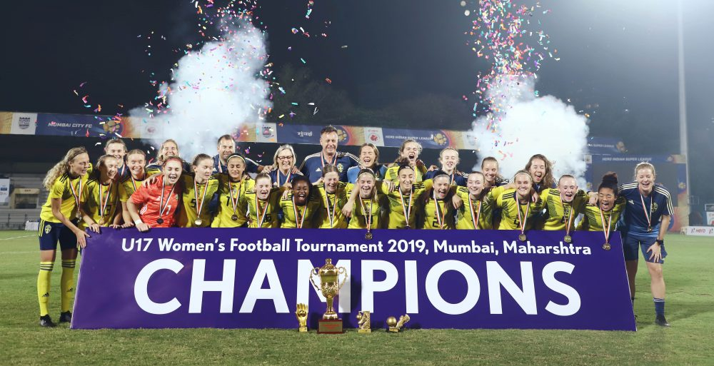 Sweden clinched victory in the final of the U17 Women's Football Tournament 2019 with a 4-0 win against hosts India on Thursday