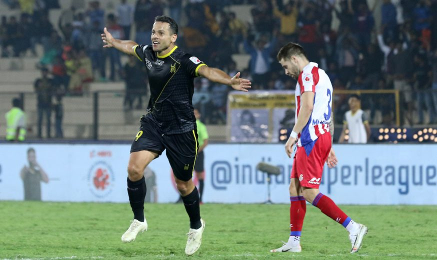 Hyderabad FC failed to hold on for a rare win as lucky ATK slogged to a 2-2 draw at the GMC Balayogi Athletic Stadium on Saturday.