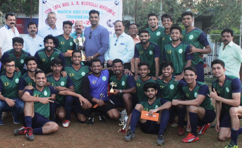 Satya Vijaya Sports Club in convincing fashion defeated Jaihind Sports Club by a 3-0 margin in the final of the 13th Late Adv. Kudrolli Memorial knockout