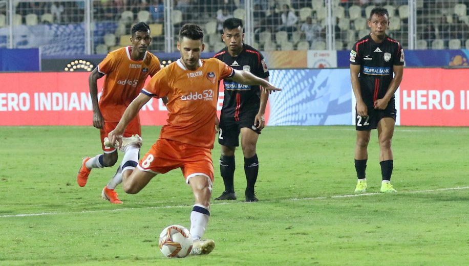 The race for the top spot in the Hero Indian Super League (ISL) heated up as FC Goa defeated NorthEast United FC 2-0  to celebrate their 100th Hero ISL match in style.