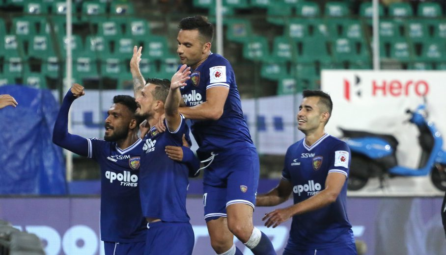 Chennaiyin FC outclassed NorthEast United FC 2-0 at the Jawaharlal Nehru stadium here on Thursday to moving closer to the play-off places in the Hero Indian Super League.