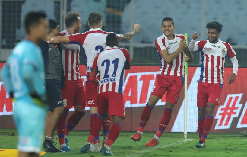 ATK emerged 2-0 victors against FC Goa in a closely-fought top-of-the-table clash in the Hero Indian Super League at the Salt Lake Stadium here on Saturday.