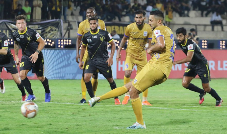 A tale of two penalties saw Hyderabad FC hold Mumbai City FC to a 1-1 draw in a dramatic Hero Indian Super League encounter at the GMC Balayogi Stadium here on Friday.