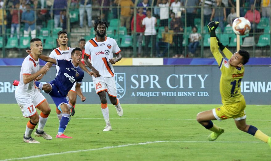 Chennaiyin FC delivered a solid display to defeat FC Goa 4-1 in the first leg of the Hero Indian Super League semi-final at the Jawaharlal Nehru Stadium