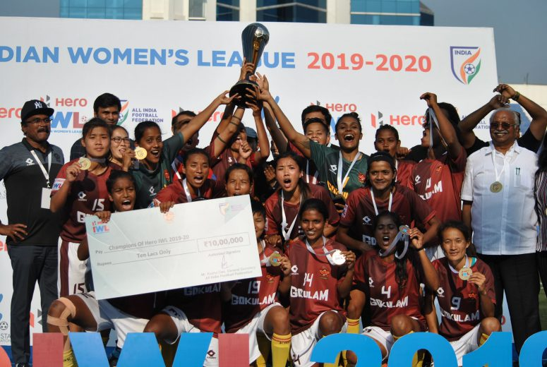 Gokulam Kerala clinched their maiden Hero IWL title after sabitra Bhandari's late goal propelled the Keralaoutfit to a 3-2 win over KYRPSHA in a nail biting finale on Thursday.