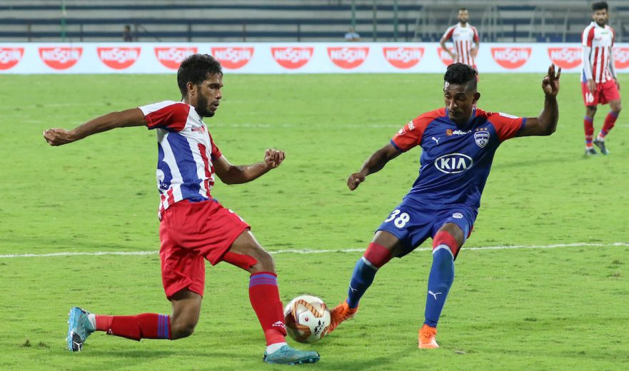 Two late goals by ATK cancelled two scored in the first half by Bengaluru FC as the final scoreline read 2-2 at the Sree Kanteerava Stadium, Bengaluru on Saturday.
