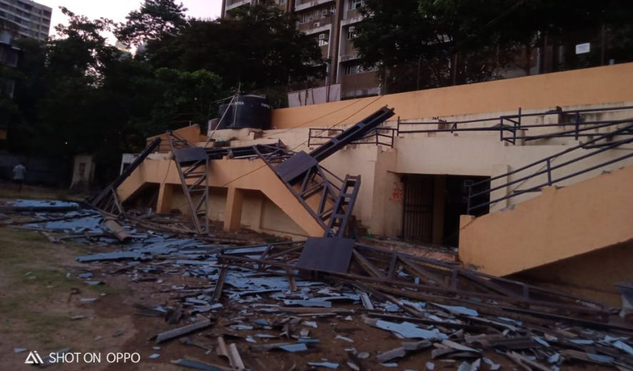 Mumbai's St.Xavier's Ground in Parel that has been host to various MDFA and MSSA tournaments suffered a mishap after part of its stands collapsed